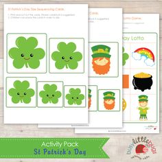 Busy Little Bugs St Patricks Day Activity Pack Size Sequencing Cards and Lotto game