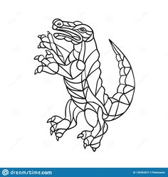Alligator Prancing Mosaic Black and by patrimonio on Mosaic style illustration of an alligator, gator, croc or crocodile prancing standing upright viewed from side on isolated background in Black and White.