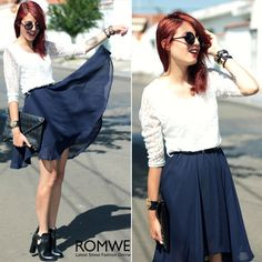ROMWE | Lace Upper Belted Half Sleeves White Skater Dress, The Latest Street Fashion
