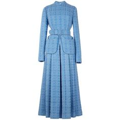 Emilia Wickstead Juliana Dress (182.450 RUB) ❤ liked on Polyvore featuring dresses, sky blue, blue silk dress, sky blue dress, long sleeve dress, silk dress and v neckline dress