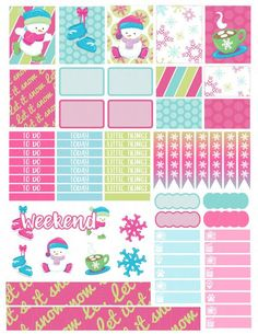 Printable Planner Stickers Skating Snowmen for by LaceAndLogos