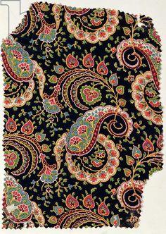 Paisley textile design, France, c.1879-80 (roller-printed wool challis)