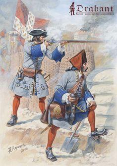 French Regiment Languedoc, Infantryman and Grenadier, 1704.
