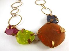 Sorbetto, necklace 2013 Brass, pigment infused resin stones