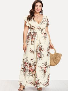 Shop Plus Flounce Trim Shirred Waist Floral Dress online. SheIn offers Plus Flounce Trim Shirred Waist Floral Dress & more to fit your fashionable needs. Maxi Wrap Dress, Dress P, Dress Outfits, Fashion Outfits, Dress Clothes, Maxi Dresses, Look Plus Size, Frack, Affordable Fashion