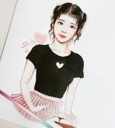 IU Fanart Woony Anime Girl Drawings, Cute Drawings, 90 Anime, Art Station, Color Pencil Art, Kpop Fanart, Korean Artist, Illustration Girl, Cute Korean