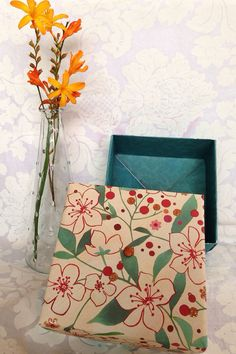Teal and orange floral Gift Box, handmade large origami box on Etsy, $5.00