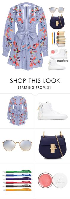 """White Sneakers!"" by prettynposh2 ❤ liked on Polyvore featuring Tanya Taylor, BUSCEMI, Ray-Ban, Chloé, Paper Mate and whitesneakers"
