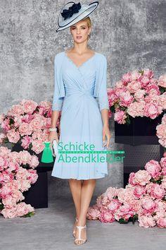 2016 Mutter der Braut-Kleid mit V-Ausschnitt Chiffon mit Rüschen und Jacke € 135.37 SAPGTPXELM - SchickeAbendKleider.de for mobile