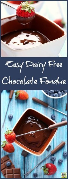Love chocolate but can't have dairy? This Easy Dairy Free Chocolate Fondue is made with coconut cream and dairy free semi-sweet chocolate chips. Perfect for dipping strawberries, blueberries, marshmallows, and pieces of gluten free cake or cookies! Great for Valentine's Day, Mother's Day, Girls Night In parties, birthday parties, or a romantic evening at home!