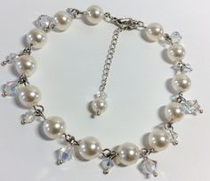 Swarovski Pearl link Chain bracelet with crystal droplets, any colour, wedding bracelet, ideal for bride, brides mother, Made to your colour by dazzlejewellery1 on Etsy
