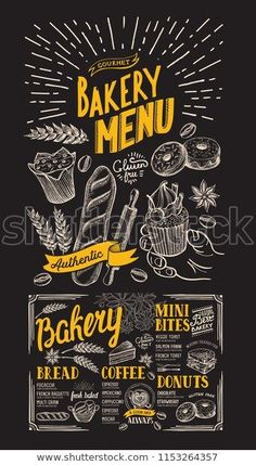 Bakery menu for restaurant. Design template with food hand-drawn graphic illustrations. Vector food flyer for bar and cafe on chalkboard background.
