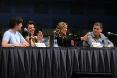 "Wentworth Miller Photos Photos - (L-R) Writer/Director/Producer Paul W.S. Anderson, actresses Milla Jovovich, Ali Larter and actor Wentworth Miller speak onstage at the ""Resident Evil: Afterlife"" panel discussion during Comic-Con 2010 at San Diego Convention Center on July 24, 2010 in San Diego, California. - ""Resident Evil: Afterlife"" Panel - 2010 Comic-Con"