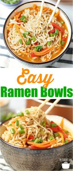 Easy Ramen Noodle Bowls recipe from The Country Cook #ideas #dinner #soups #ramen #easy #recipes #noodles #vegetarian