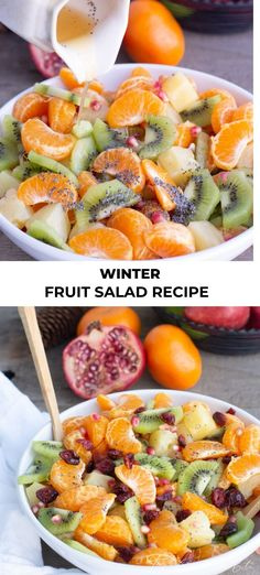 Winter Fruit Salad Recipe Winter fruit salad is loaded with the best fruits of winter. We love this exquisite lemon-lime-honey syrup dressing it is covered in. Fun Easy Recipes, Good Healthy Recipes, Healthy Snacks For Kids, Easy Meals, Salad Recipes For Dinner, Fruit Salad Recipes, World's Best Food, Good Food, Winter Fruit Salad