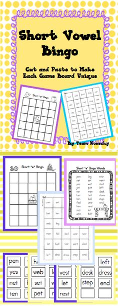 First Grade - Short Vowel Bingo This download focuses on CVC Words and Blends. There is a separate game for each of the 5 vowels. $