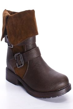 brown, fold-over boots - $15.99