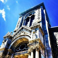 """Facade of St. Elizabeth of Hungary Catholic Church, Baltimore, Maryland  """"Blessed are ye that hunger now"""" (Luke 6:21a)"""