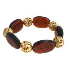 Retired Joan Rivers Yellow Gold GP Brown Filigree Stretch Bracelets a011 $69.99 #JoanRivers #Stretch