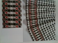 Gingham embroidery idea: these would be cool for my kitchen windows!