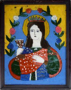 Maria mit Kelch (Blut Jesu?) Hinterglasikone,  Siebenbürgen, Rumänien, Grenzgebiet zu Ungarn? um 1900, Rahmen 33 x 43 cm Innen 28,5 x 38,5 cm