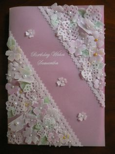 A beautiful parchment card made by my mum for my daughter.