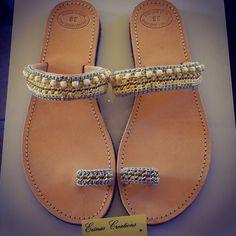 """Lemonaki"" Handmade Sandals Palm Beach Sandals, Handmade Clothes, Slip On, Stitch, Shoes, Women, Fashion, Over Knee Socks, Diy Clothing"