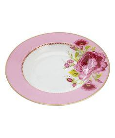 PINK ROSE PRINT SOUP PLATE, PIP STUDIO