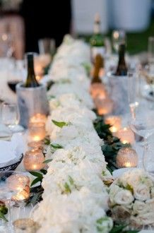 Gorgeous white floral table runner | Posh Petals and Pearls