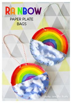 Arty Crafty Kids   Book Club   Craft Ideas for Kids   Rainbow Paper Plate Bag   A fun Rainbow themed craft for kids, where kids can store notes, pens and pencils in their very own Rainbow Bag!