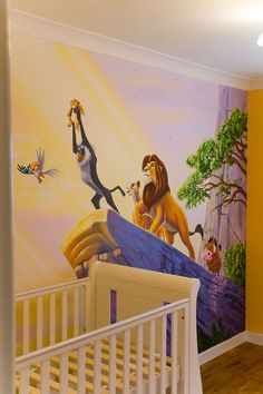 Baby room wall ideas Source by katharinaplache Lion King Room, Lion King Nursery, Lion King Baby, Disney Baby Nurseries, Disney Nursery, Baby Boy Nurseries, Mural Da Disney, Disney Wall Murals, Baby Room Themes