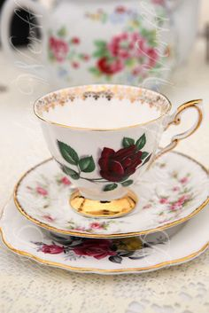ENGLISH CHINA TEACUPS AT  SALLY'S DANBY CASTLE WEDING IN YORKSHIRE, ENGLAND