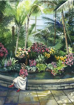 Orchid garden  ORIGINAL WATERCOLOR PAINTING spring landscape