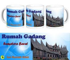 "Mug Keramik tema seni budaya Indonesia, edisi khusus rumah adat ""Gadang"" Sumatera Barat.    Cocok buat hadiah / souvenir etnik nusantara."