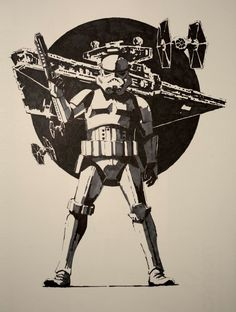 ArtStation - Stormtrooper - Ink on paper, Guillaume Menuel