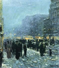 Broadway and 42nd Street, Oil by Frederick Childe Hassam (1859-1935, United States)