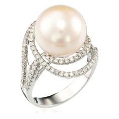 White Gold Ring with Diamonds (0.58 ct) & Pearl (DIAMANTA2 1058959)