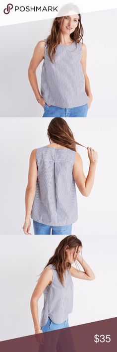 Madewell striped tank top A simple striped tank with a pleated back for a breezy fit.  True to size. Cotton. Machine wash. Import. Madewell Tops Tank Tops