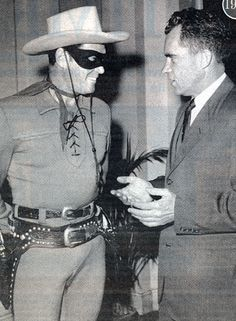 Clayton Moore as the Lone Ranger met with Vice President Richard Nixon in the Capitol building in Washington on June Nixon met with Moore in support of the Lone Ranger's Peace Patrol Bond Rally. Picture Movie, Movie Tv, Clayton Moore, Green Hornet, The Lone Ranger, Masked Man, Little Golden Books, Dark Ages, Us Presidents