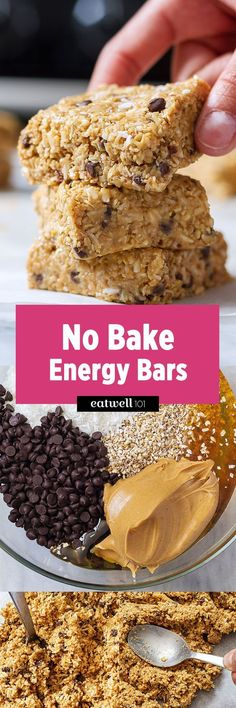 Need an energy boost? Then these no bake bars packed with energy boosting ingredients are what you need! With oatmeal, coconut, honey and peanut butter they make a perfect breakfast on-the-go or af… (no bake oatmeal bars mom) Healthy Bars, Healthy Treats, Healthy Baking, Healthy Food, Healthy Energy Foods, Eating Healthy, Protein Snacks, Energy Snacks, Breakfast On The Go