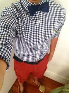 Red fit shorts gingham plaid and matching bow tie