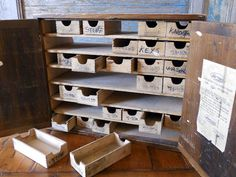 Organize bits for in my studio. Antique Hardware Store Cabinet / Premier by crazeecowgirlvintage, $225.00