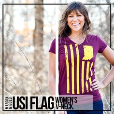 32861280a836d USI Flag Women s V-Neck Indiana Flag