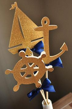 Items similar to Nautical Baby Shower Decorations. Nautical Baby Shower Decorations, Nautical Centerpiece, Nautical Party, Centerpieces, Free Baby Shower Games, Baby Shower Parties, Baby Shower Themes, Baby Boy Shower, Boat Birthday Parties