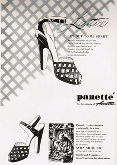 """1947 pannettes lattice platform sandals """"cut out to be smart""""Love the tag line!   #vintageshoes #1940sshoes #40sheels"""