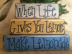 Primitive When Life Gives You Lemons Make Lemonade Shelf Sitter Wood Block Set #PrimitiveCountry