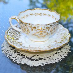 Antique Victorian Tea Cup and Saucer Lace Effect