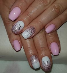 Pink white shimmering cute nail design idea