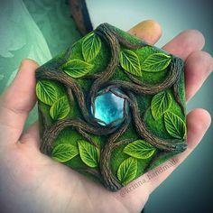 Celtic hexagon pendant, polymer clay jewerly