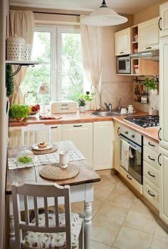 peach pastel kitchen